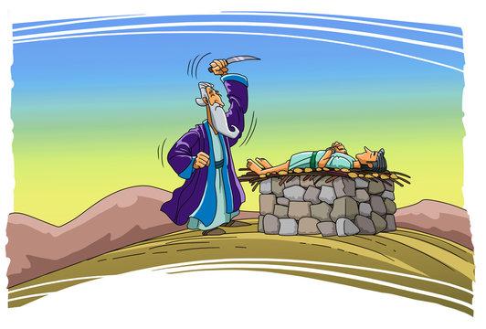 Abraham imprieet intention to sacrifice his son Isaac.