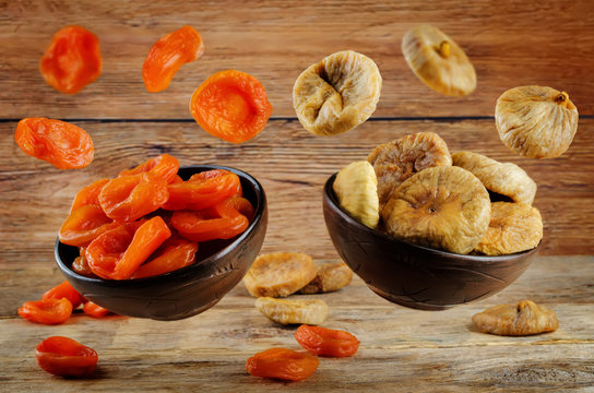 Variation of dried fruits: dried apricots and dried figs