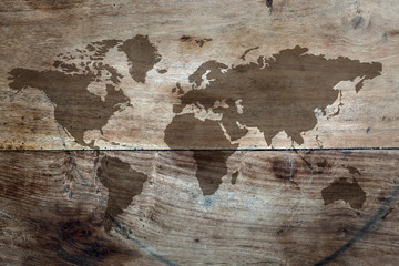 World map on the boards