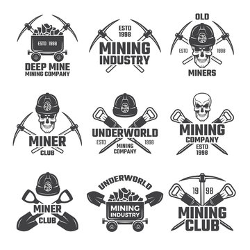 Industrial gold and various mineral mining. Black labels vector set