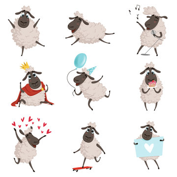 Cartoon farm animals. Sheep playing and making different actions. Vector characters set isolate on white