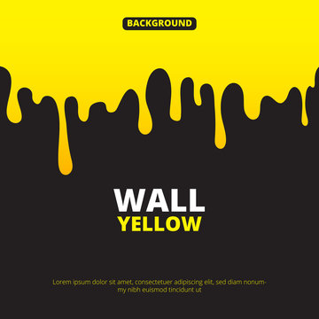 Background illustration with yellow paint dripping