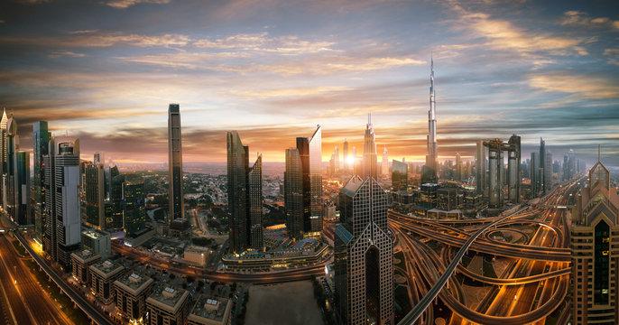 Dubai sunset panoramic view of downtown. Dubai is super modern city of UAE, cosmopolitan megalopolis. Very high resolution image