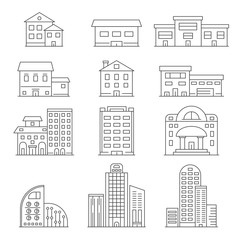 House and business buildings. Vector linear pictures of urban construction