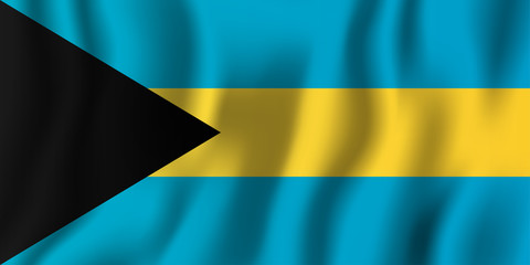 Bahamas realistic waving flag vector illustration. National country background symbol. Independence day