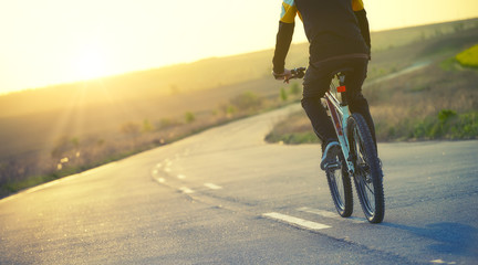 Ride on bicycle on the road. Sport concept and idea