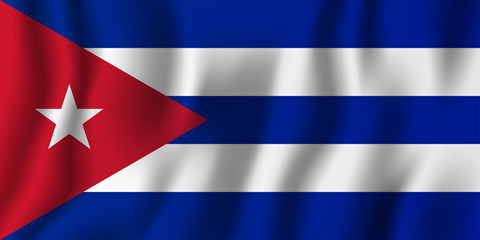 Cuba realistic waving flag vector illustration. National country background symbol. Independence day