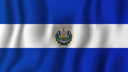 El Salvador realistic waving flag vector illustration. National country background symbol. Independence day