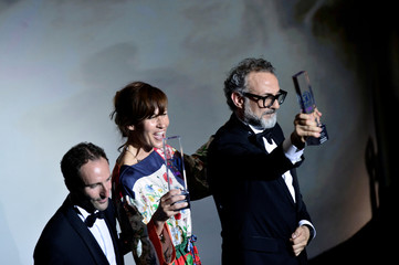 Massimo Bottura, the chef patron of Osteria Francescana restaurant in Italy, next to his wife Lara Gilmore, receives the award for Best Restaurant during the World's 50 Best Restaurants Awards at the Palacio Euskalduna in Bilbao