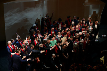 The winners of the awards for the top 50 Best Restaurants gather on stage at the end of the World's 50 Best Restaurants Awards at the Palacio Euskalduna in Bilbao