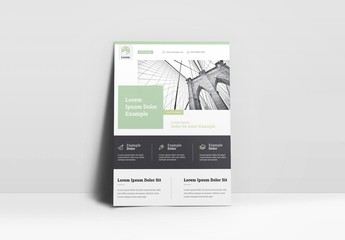 Business Flyer Layout with Mint Green Accents