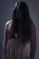 Girl in a bloody dress