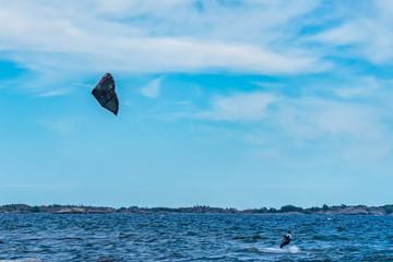 Kitesurfing in the Baltic sea, Sweden