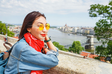 Smiling asian tourist girl in Budapest