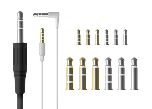 Realistic audio mini jack plug set. Isolated vector illustration of white connector.