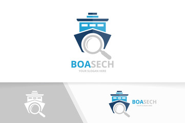 Vector ship and loupe logo combination. Boat and magnifying symbol or icon. Unique yacht and search logotype design template.