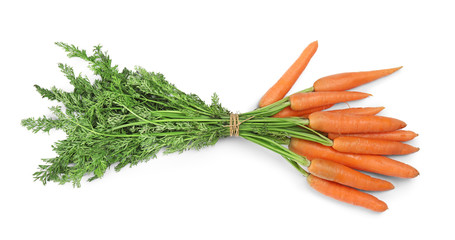 Ripe carrots on white background. Healthy diet