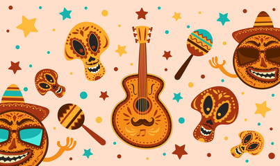 Mexican holiday Cinco De Mayo. Vector template with traditional Mexican symbols skull, guitar, Mexican Maracas. Day Of Dead Traditional Mexican Halloween.