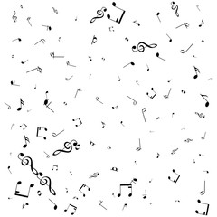 Vector pattern with music notes on white background.