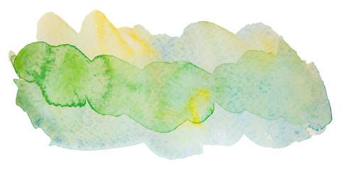 multicolor transparent watercolor. green yellow for design