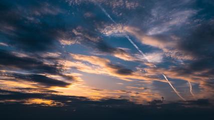 Beautiful dramatic sunset cloud sky