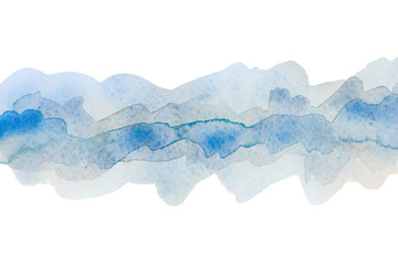 transparent strip of watercolor, colored in blue tones.