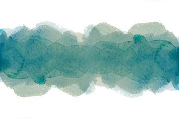 green watercolor strip for design, the color of seaweed.