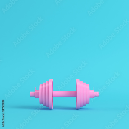 b9d55315 Abstract pink dumbbell on bright blue background in pastel colors ...