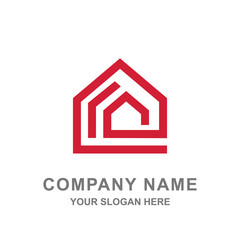 Red House Real Estate Building Logo Vector