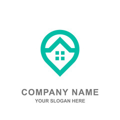 Pin Point Hotel House Location Mobile Application Logo