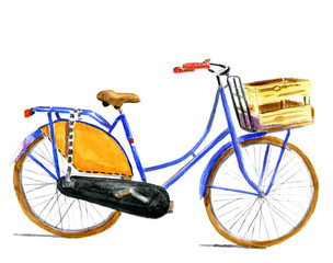 Typical Dutch bike in water color