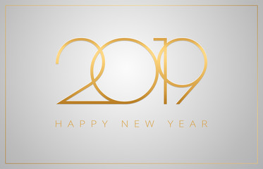 2019 Happy New Year greeting card - golden numbers on a silver background - vector 2019 New Year celebration