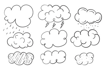 Vector Clouds. weather forecast elements. Sky hand drawn cartoon clouds.