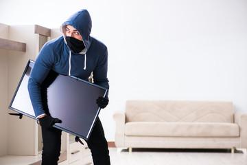 Man burglar stealing tv set from house - fototapety na wymiar