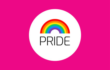 Pride pink background with rainbow flag - vector illustration for pride month