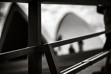 Handrail with building in the background, Sydney, NSW, Australia