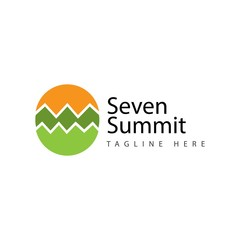 Seven Summit Logo Vector Template Design Illustration