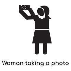 Woman taking a photo icon vector sign and symbol isolated on white background, Woman taking a photo logo concept