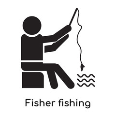 Fisher fishing icon vector sign and symbol isolated on white background, Fisher fishing logo concept