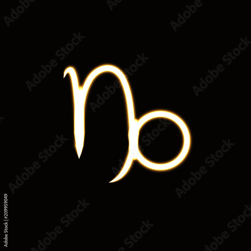 Zodiac Sign Capricorn Glowing Neon Light Symbol Stock Image And