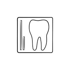 Tooth x-ray hand drawn outline doodle icon. Dentistry, stomatology and dentist clinic concept. Vector sketch illustration for print, web, mobile and infographics on white background.