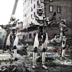Artificial Intelligence self aware android robots patrolling a destroyed city. 3d rendering