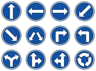 Collection group of blue regulatory signs icon for paper cut style on white background