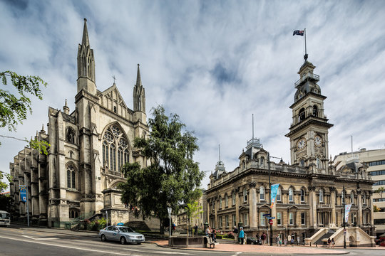 St Paul's Cathedral and the Dunedin Town Hall, Dunedin New Zealand: