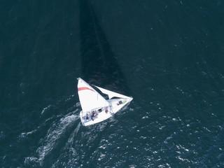 海を走るヨットは太陽の光を浴び、長い影が伸びている