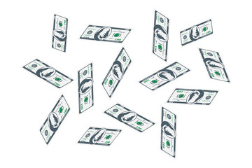 One Hundred dollar bills are flying. A lot of banknotes on a white background. Flat vector illustration EPS10
