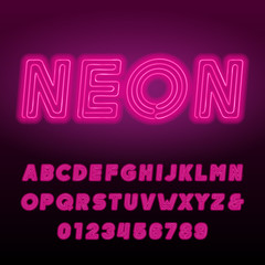 Pink neon tube alphabet font. Neon color bold oblique letters and numbers. Retro vector typeface for your design.