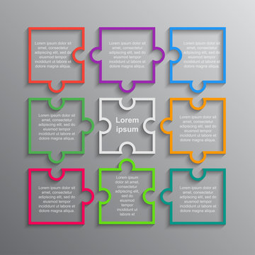 Puzzle. Infographics. Rectangle 9 Steps Puzzle.