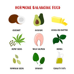 Food for Hormone Balancing set isolated on white. Vector Cartoon style product icons illustration