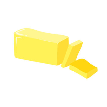 Stick of butter, cut, vector icon. Healthy eating cartoon illustration isolated on white background.